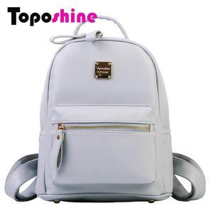 Toposhine nuovo solido Borse Women Bag zaino cuoio delle donne dell'unità di stile semplice ragazze zaino della scuola femminile di modo Zaini 1701