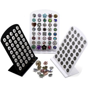 Noosa Chunks Bianco Nero Acrilico Snap Display Stand staccabile Set 40pcs Snap 12mm 18mm Snap Button Display gioielli Stand