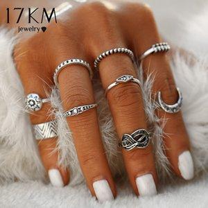 Toda la venta17KM Moda 9 unids / set Color Plata Infinito Midi Ring Sets para Las Mujeres Boho Beach Vintage Punk Knuckle Sun Ring Joyería