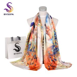 [BYSIFA] 2018 bufanda de la manera de mujer de marca bufanda de seda del mantón del pavo real Diseño Doble invierno Caras Botones largo Bufandas 175 * 50cm