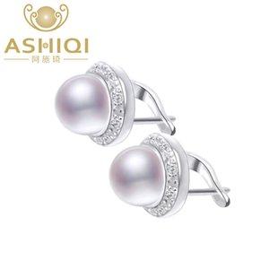 ASHIQI genuino orecchini di perle d'acqua dolce naturale per il regalo dei monili delle donne all'ingrosso