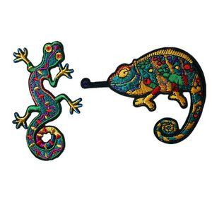Bordado gecko lagarto camaleão remendo de ferro de costura em quatro patas cobra crachá para bag jeans chapéu apliques diy adesivo vestuário decoração