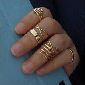 6 unids / set conjunto de anillos de oro combinar anillo de la banda de anillo de anillo de los anillos para las mujeres joyería de moda