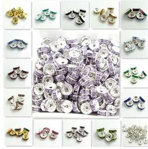 Comercio al por mayor 100 UNIDS Resina Rhinestone Plata Rondelle ajuste Checa Crystal Spacer Beads DIY 6mm
