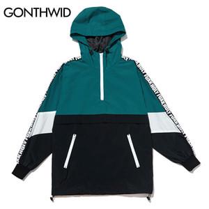 Cremallera Gonthwid Patchwork Bloque de color Jersey Chaquetas con capucha Otoño Cremallera Chándal Casual Chaqueta Abrigos Hip Hop Hombre Streetwear