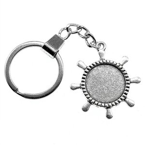 6 Pieces Key Chain Women Key Rings Couple Keychain For Keys Rudder Single Side Inner Size 20mm Round Cabochon Cameo Base Tray Bezel Blank
