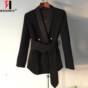 HAGEOFLY Moda Alta Moda 2018 Nero Bianco Rosa Blazer Designer Donna A Maniche Lunghe Doppio Bottone Giacca Esterna Blazer Femminile