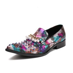 Luxe Chaussures Habillées Pour Hommes Fashion Forward Toe Bateau Chaussures Avec Rivets Slip On Party Show Chaussures Pour Homme Hombre Zapatos 46
