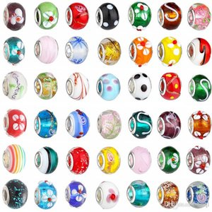 2015 Nuove perle di vetro Charms bella europea in vetro di Murano Biagi Grande grande foro Rroll Beads misura per i braccialetti di fascinoNecklace Colore della miscela