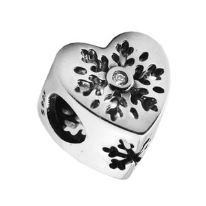 جديد الأصلي 925 فضة هدية عيد snowflake القلب الخرز ل صنع المجوهرات صالح سحر سوار diy مجوهرات اكسسوارات