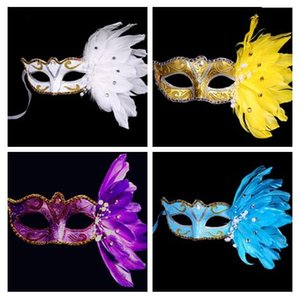 Gold powder crystal Pearl lace Feather Half Face Painted Mask Masquerade Christmas Halloween Birthday Party Accessories