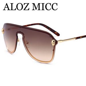 ALOZ MICC 2018 tasarımcı güneş gözlüğü çerçevesiz erkek güneş gözlüğü kadın Benzersiz Tek parça gözlük Boy alaşım Gözlük yüksek kaliteli UV400 A566