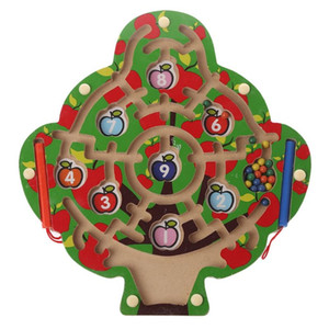 Apple Tree Wooden Puzzle Magnetic Pen Laberinto Juego Labyrinth Kids Learning Educación Juguetes