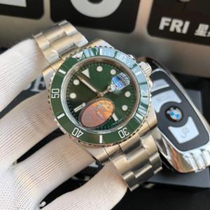 Зеленый циферблат высокого качества 40 мм керамический безель сапфировое зеркало мужские часы 116613 116610 904L стали швейцарские механические автоматические наручные часы