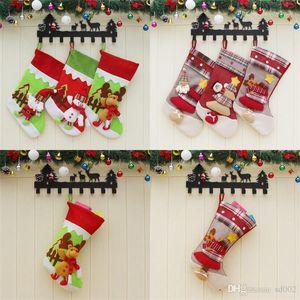 Sıcak Satış Tuval Stocking Noel Süslemeleri Hediye Çantası Noel Baba Kardan Adam Elk Çorap Şeker Çanta Parti Malzemeleri 12cx dd