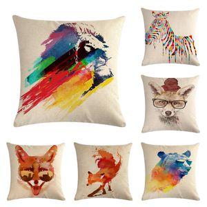 45 cm * 45 cm Keten Pamuk Yastık Kanepe Yastık Kılıfı Kapakları Gökkuşağı Renk Hayvan Minder Kapak Oturma Odası Dekoratif Yastıklar