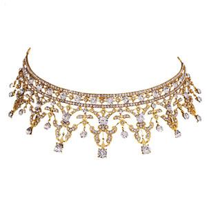 TUANMING Europa Royal Gold Tiaras Kronen Kristall Bohrer Braut Hochzeit Haarschmuck Mode Frauen Haarschmuck Neueste Hairwear