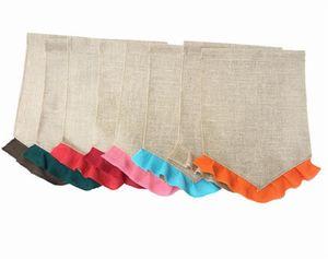 Boş Çuval Bayrağı Bayrağı DIY Jüt Ruffles Bahçe Bayrakları Taşınabilir Boş Afiş Paskalya Bahçe Süslemeleri C189