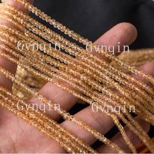 Free Shipping Wholesale Natural Citrine Rondelle faceted beads Loose Small Beads DIY Jewelry Necklaces or Bracelets
