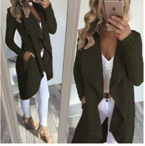 Moda otoño mujer gabardinas invierno Europa Nueva solapa cuello bolsillo venta caliente algodón prendas de vestir exteriores 180822-01