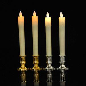 2 adet / grup Wick Hareketsiz Alevsiz LED Şamdan Uzun Konik Noel Düğün Dekor Yemek için Alev Alev Alev Dans Mum Işığı
