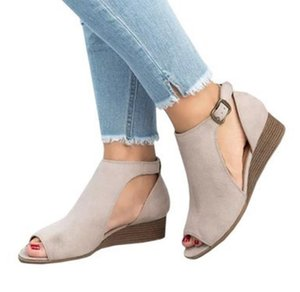 high heels beach sandals hollow out Roman Ankle strap shoes fish mouth Sandalias wedge velvet female Buckle Shoes A162