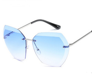 패션 스타 스타일 패션 선글라스 그라데이션 여성 무테 선글라스 빈티지 큰 프레임 개구리 일 안경 8 색