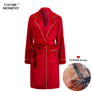 CAVME CUSTOM Velour Bathrobes Robes Bride Bridesmaid Robe Kimono Sexy Long-Sleeve Night Dressing Gown Gift