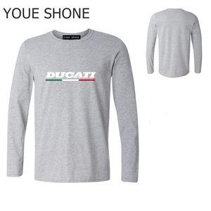 Tshirt manica lunga moto uomo taglie forti Camiseta T-Shirt bandiera italiana t-shirt DUCATI Mens t-shirt da ginnastica fitness basic T-shirt in puro cotone