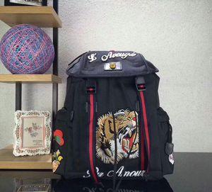 nakış lüks tasarım seyahat çantası adam sırt çantası omuz çantaları ile 2018 yeni moda Kaplan Nakış sırt çantası