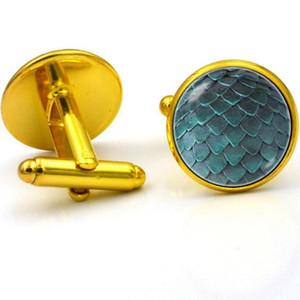 Toptan-Vintage Dragonscale Zaman Mücevher Kol Düğmeleri Moda Fransız Erkekler ve Kadınlar Giyim Ücretsiz nakliye için Kol Düğmeleri