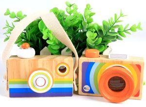 Niños del arco iris Cámara de simulación de madera Caleidoscopio Navidad Niños Viaje Juguete Bebé Seguro Madera Natural Regalo de cumpleaños Decoración Niños Habitación