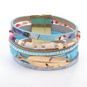Leather Wrap Bracelet Magnet Women Crystal Bracelet Gold Leaf Feather Chain Charm Bangle Cuff Fashion Jewelry Drop Shipping KKA1885