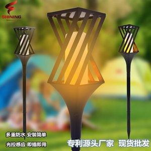 안뜰 태양 불꽃 램프 잔디 풍경 램프 야외 led 화재 램프 도매