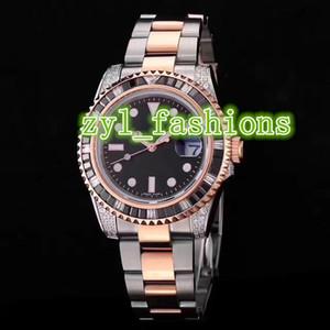 Luxury Fashion Men's Brand Watch Diamond Bezel Bi-Rose Gold Stainless Steel Waterproof Watch Mechanical Automatic Sports Watch