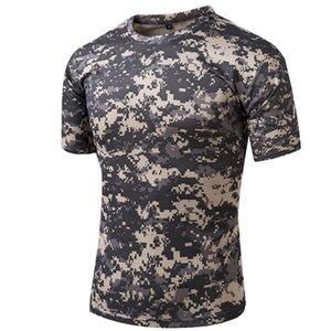 T-shirt tático Compactar Quick Dry camuflagem T-shirt de combate de Camo de manga curta T-shirt Vestuário do Exército