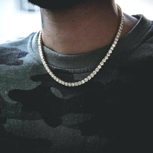 Classic Round Hop Tennis Hip Jewelry Chains Men Cut Chains Rose Long Mens Necklace Chain Necklace Gold Jewelry Gnmmq