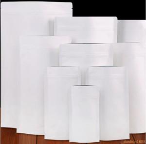 trasporto libero Snack 500Pcs / Lot bianco della carta kraft Mylar Doypack Borsa da tè della confezione Borse Stand Up confezione sacchetto in alluminio