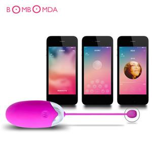 Vibrantes para el control remoto inalámbrico USB parejas App huevo del salto vibradores recargables D18110904 Vibrador Sexo juguetes de silicona Alheu