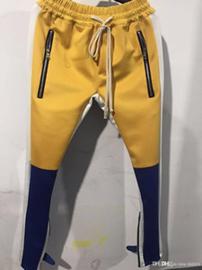 2020 Fear Of God FOG Justin Bieber Side Zipper Casual Sweatpants Homens Hiphop Jogger Track Pants Sportwear S-XXL