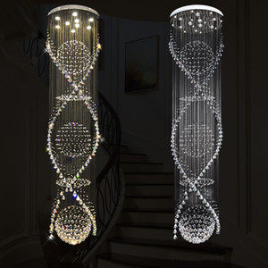 Long Spiral LED Crystal Ceiling Light Lustre Crystal Chandelier Light Rain Drop Ceiling Lamp for Lobby Staircase Stairs Foyer Large Crystal