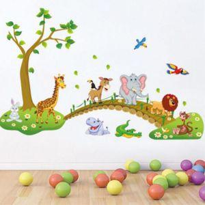 Papel de pared Nuevo Animal Etiqueta de La Pared Mono Jirafa Árbol Mural Vivero Bebé Niños Habitación Decal Decoración