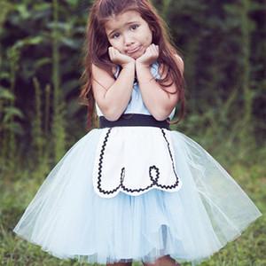 Bebek Kız Mavi Külkedisi Kabarık Kol Sling Mesh Prenses Elbiseler Tutu Elbise Doğum Günü Partisi Elbise Kız Cadılar Bayramı Kostüm