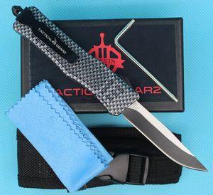 Новое углеродное волокно Цвет 7-дюймового 616 Mini Auto Тактического нож 440C Single Edge каплепадение Fine Блейд EDC Карманные ножи