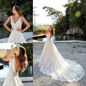 2019 nuevos vestidos de novia de la cintura rocío lateral primavera Eddy K una línea vestidos de novia sin mangas vestido de novia de cuello alto v profundo