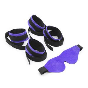 Adult Game Bdsm Bondage Set Fetish Sex Kit Restraints Toys Bed Bondage Eyemask Wrist Ankle Handcuffs set Blinder Patch for Adult Couples