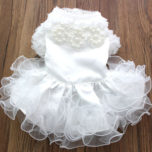 New Princess PearlsFungus Lace Dog Pet Abito da sposa Tutu Cat Puppy Gonna Abiti Outfit Dinner Party 5 Taglie 3 colori