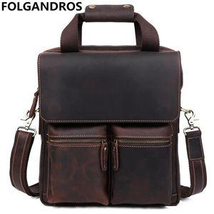 Cartelle verticali in vera pelle da uomo da 13 pollici tote bag per laptop borsa in pelle di vacchetta moda borsa a tracolla messenger vintage