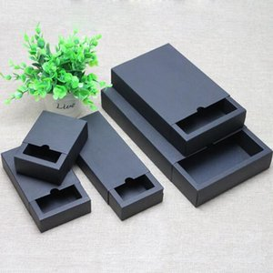 Nuova forma a cassetto Confezioni regalo fatto a mano Confezioni di carta nera Confezioni di carta kraft nero
