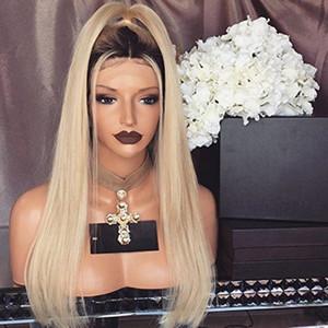 스트레이트 1b 613 Glueless 풀 레이스 가발 Remy 인간의 머리카락과 아기의 머리카락 옴브 1B 613 Dark Roots Blonde for Black Women